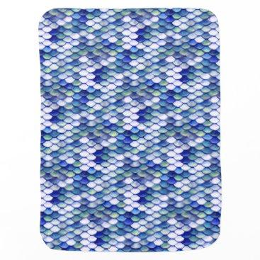 Beach Themed Mermaid Blue Skin Pattern Swaddle Blanket