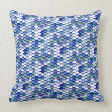 Beach Themed Mermaid Blue Skin Pattern Throw Pillow