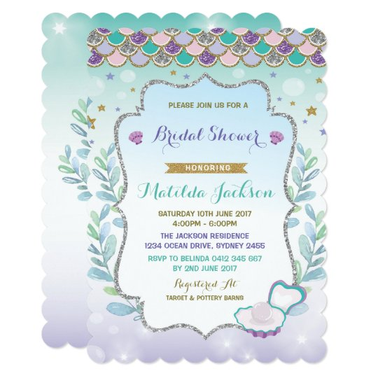 mermaid bridal shower invitation beach ocean party