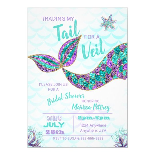 mermaid bridal shower invitation glitter invitation