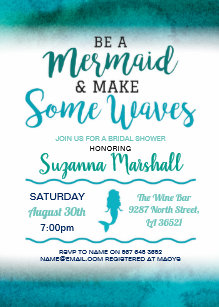 mermaid bridal shower invite teal bachelorette