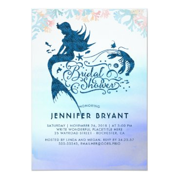Beach Themed Mermaid Bridal Shower Under The Sea of Love Card