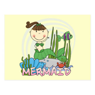 Mermaid - Brunette Girl Pony Tail Tshirts and Gift Postcard