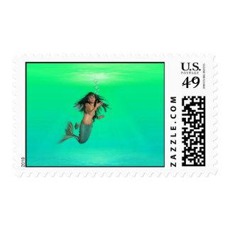 Mermaid Bubbles Postage Stamp