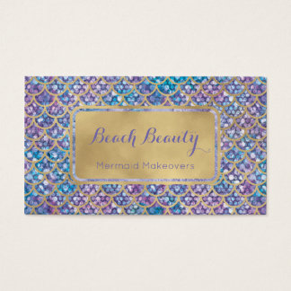 Mermaid Business Cards Blue Periwinkle Sequin glam