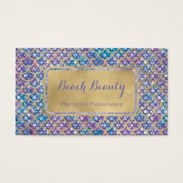 Professional Business Mermaid Business Cards Blue Periwinkle Sequin glam