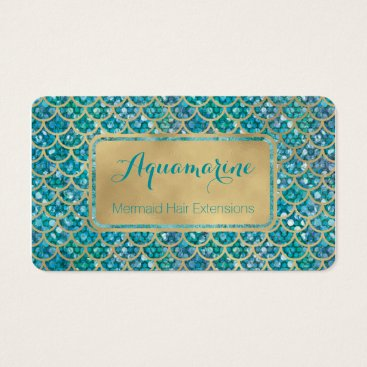 ClickPaperCo Mermaid Business Cards Teal and Gold Sequin