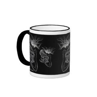 Mermaid-Butterfly Lady on Black Coffee Mugs