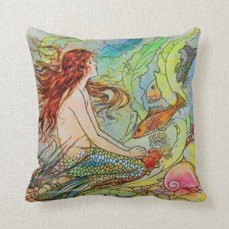 Mermaid by Elenore Abbott Throw Pillow