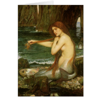 Mermaid by JW Waterhouse, Victorian Mythology Art Greeting Card