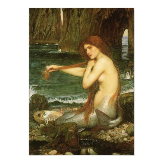 Mermaid by JW Waterhouse, Victorian Mythology Art Card