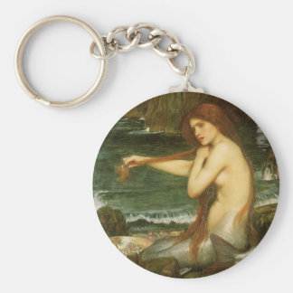 Mermaid by JW Waterhouse, Victorian Mythology Art Keychains