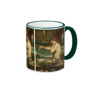 Mermaid by JW Waterhouse, Victorian Mythology Art Ringer Coffee Mug