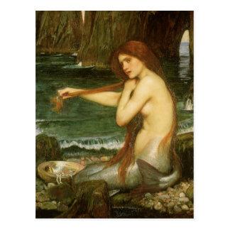 Mermaid by JW Waterhouse, Victorian Mythology Art Postcard