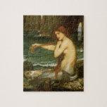Mermaid by JW Waterhouse, Victorian Mythology Art Jigsaw Puzzles