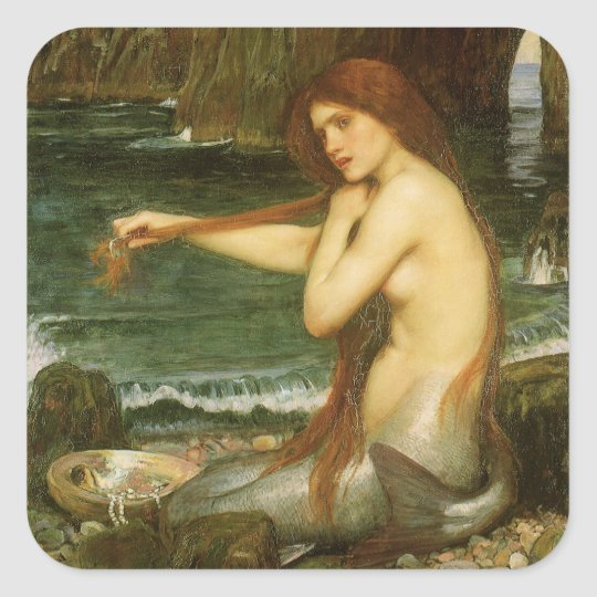 Mermaid by JW Waterhouse, Victorian Mythology Art Square Sticker