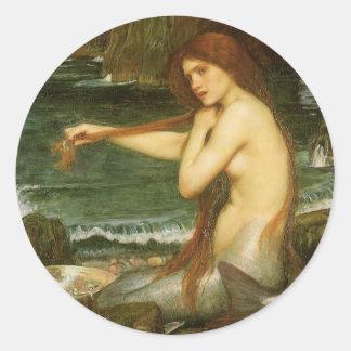 Mermaid by JW Waterhouse, Victorian Mythology Art Classic Round Sticker