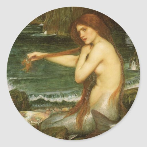 Mermaid by JW Waterhouse, Victorian Mythology Art Stickers