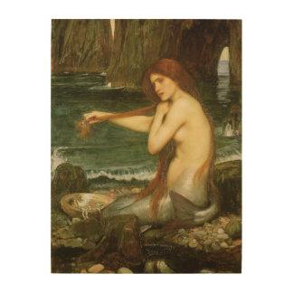 Mermaid by JW Waterhouse Victorian Mythology Art Wood Canvas