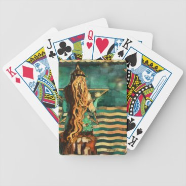 Beach Themed Mermaid by the Sea with Moon and Stars Bicycle Playing Cards