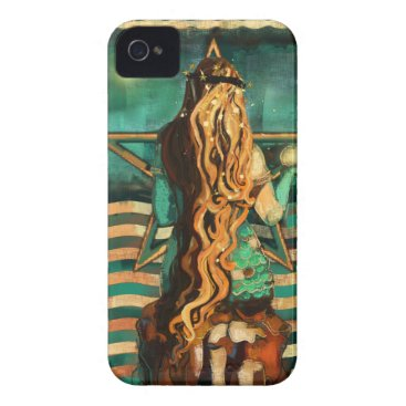 Beach Themed Mermaid by the Sea with Moon and Stars iPhone 4 Case-Mate Case