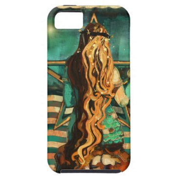 Beach Themed Mermaid by the Sea with Moon and Stars iPhone SE/5/5s Case