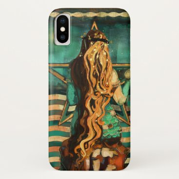 Beach Themed Mermaid by the Sea with Moon and Stars iPhone X Case
