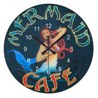 Mermaid Cafe Sign Large Clock