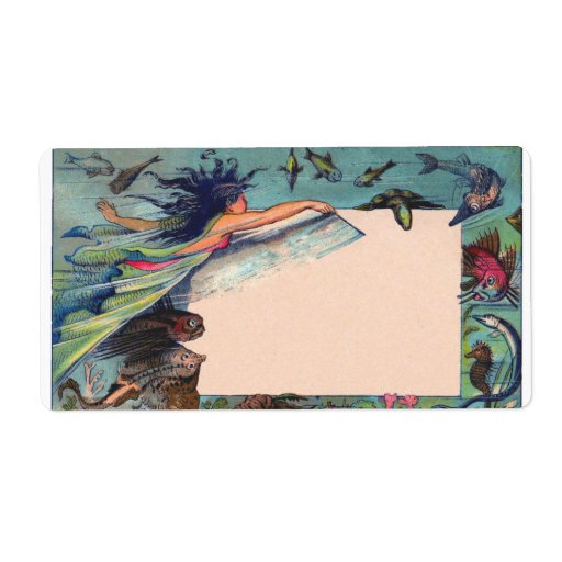 mermaid card personalized shipping label