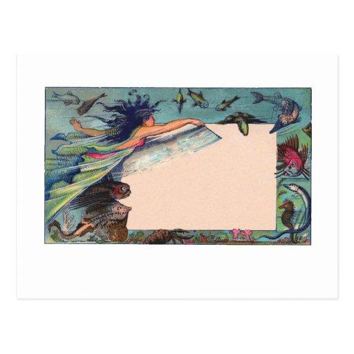 mermaid card post card