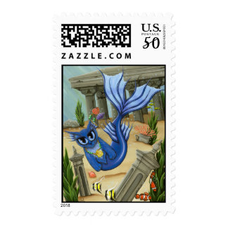 Mermaid Cat Atlantis Mercat Fantasy Art Postage