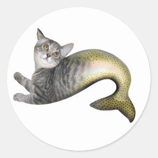 Mermaid Cat Classic Round Sticker