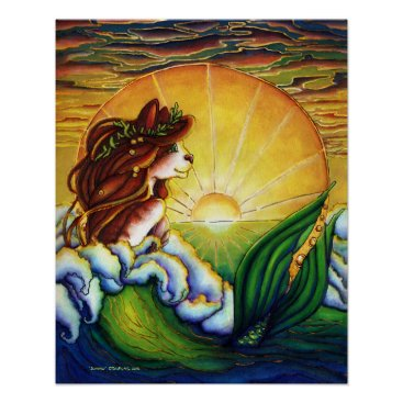 Beach Themed Mermaid Cat Summer Ocean Sunset Poster