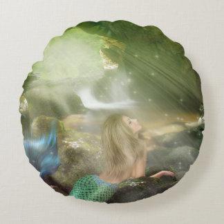Mermaid Cave Round Pillow