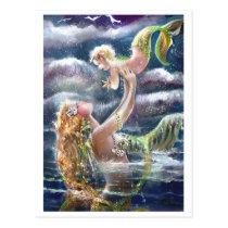 Mermaid & Child Postcard