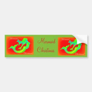 mermaid christmas bumper sticker