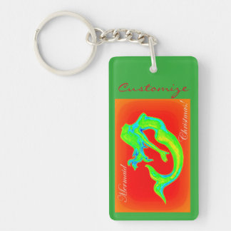 mermaid christmas customized keychain