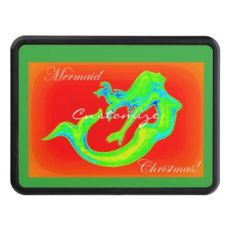 mermaid christmas red/green trailer hitch cover