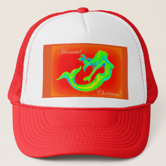 mermaid christmas red trucker hat