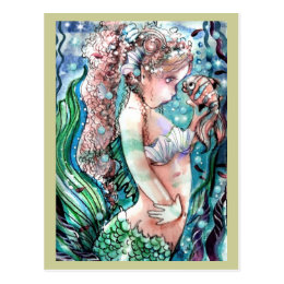 Mermaid & Clown Fish Postcard
