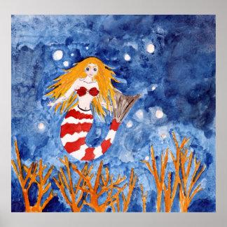 mermaid coastal beach decor art poster