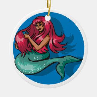 Mermaid Combing Hair Ceramic Ornament