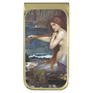 Mermaid Combing Her Hair Gold Finish Money Clip