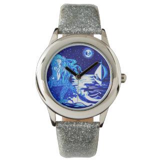 Mermaid combing her hair wristwatch
