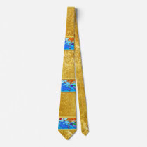 Mermaid comic ocean underwater dolphin work of art neck tie