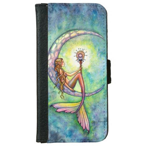 Mermaid Crescent Moon Fantasy Art Illustration iPhone 6 Wallet Case