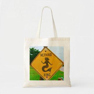 Mermaid Crossing Road Sign Budget Tote Bag