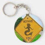 Mermaid Crossing Road Sign Key Chains