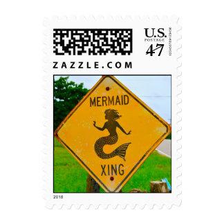 Mermaid Crossing Road Sign Postage