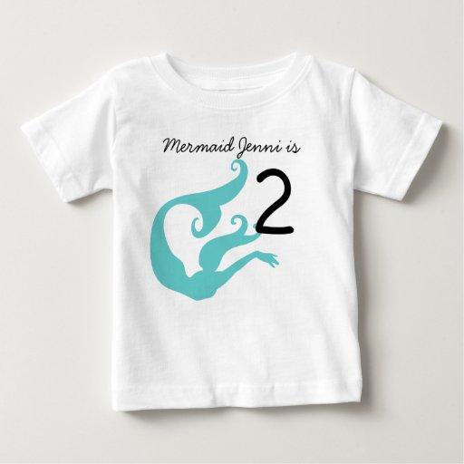 Mermaid Customizable 2nd Birthday Tshirt